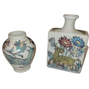 Vintage Pottery Barn Iznik Crackle ware Set of 2